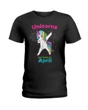 Dabbing Unicorn April Birthday T Shirt For Girls A Ladies T-Shirt thumbnail