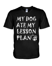 My Dog Ate My Lesson Plan T-Shirts V-Neck T-Shirt thumbnail