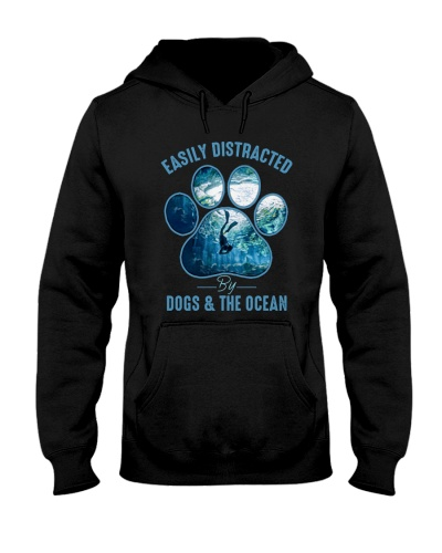 Easily Distracted By Dogs And The Ocean T-shirt