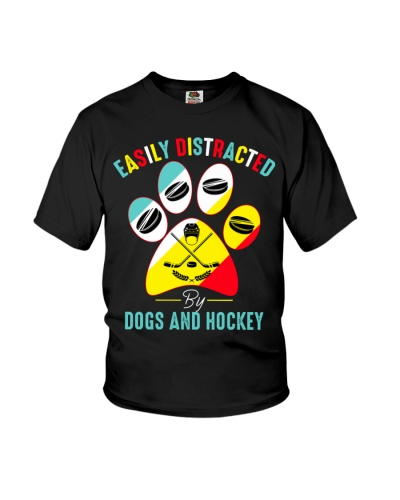 Easily Distracted By Dogs and Hockey T-shirt