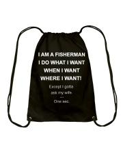 I AM A FISHERMAN Drawstring Bag thumbnail
