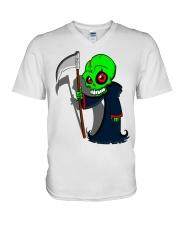funny grimme reaper teeshirt V-Neck T-Shirt front