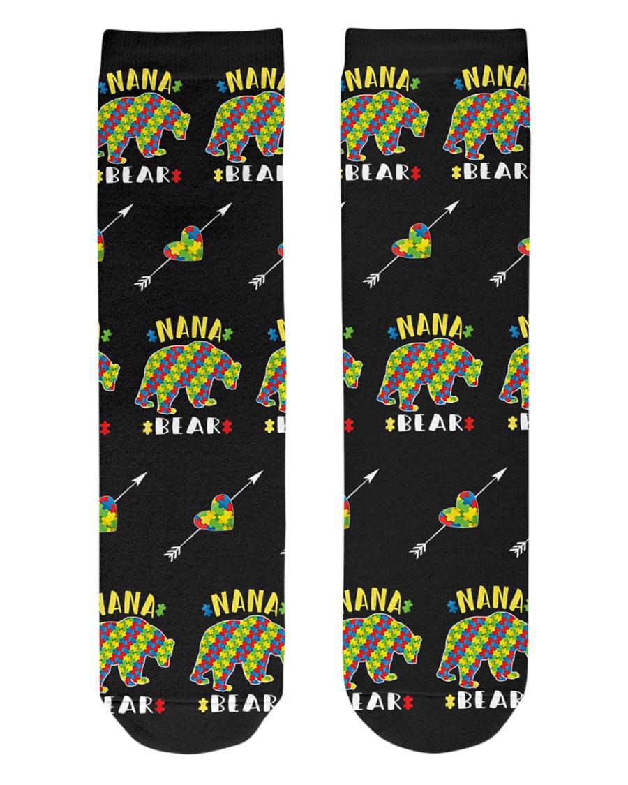 Autism Nana Bear Shirt Autism Grandma Puzzle Piece Crew Length Socks