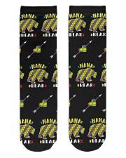 Autism Nana Bear Shirt Autism Grandma Puzzle Piece Crew Length Socks front