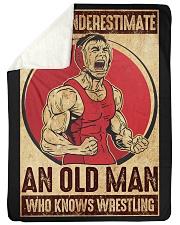 "Old Man Knows Wrestling Large Sherpa Fleece Blanket - 60"" x 80"" thumbnail"