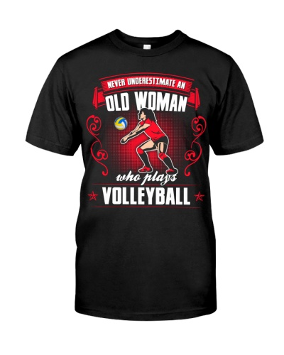 Old Woman Play Volleyball