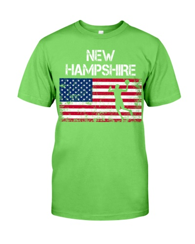 New Hampshire State Basketball American Flag
