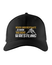 Man Knows Wrestling Embroidered Hat front