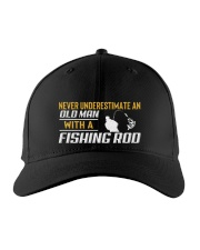 Old Man With A Fishing Rod Embroidered Hat front