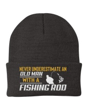 Old Man With A Fishing Rod Knit Beanie thumbnail