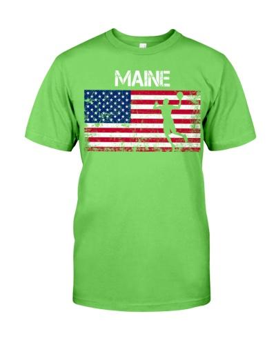 Maine State Basketball American Flag