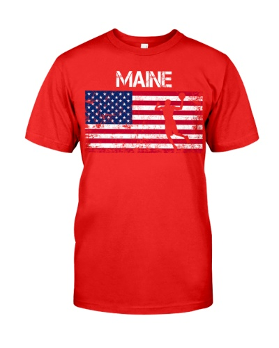 Maine State Basketball American Flag