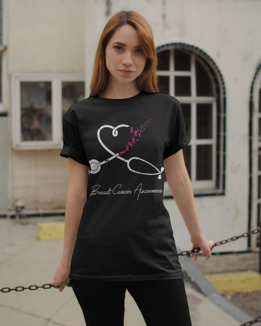 TEEPOMY Nurse Breast Cancer Awareness Pink Ribbon Stethoscope Heart Unisex Hoodie