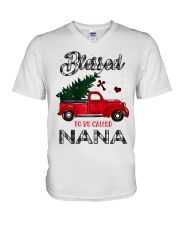Blessed To Be Called Nana Christmas Red Truck  V-Neck T-Shirt thumbnail
