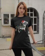 Boston Terrier Christmas Pajama Santa Hat Lights  Classic T-Shirt apparel-classic-tshirt-lifestyle-19