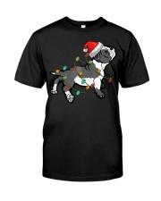 Boston Terrier Christmas Pajama Santa Hat Lights  Classic T-Shirt front