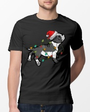 Boston Terrier Christmas Pajama Santa Hat Lights  Classic T-Shirt lifestyle-mens-crewneck-front-13