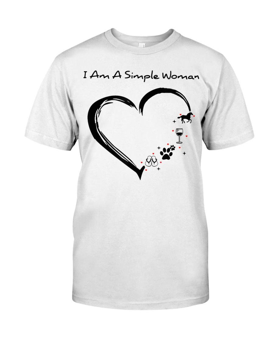 I Am A Simple Flip Flops Dog Wine Horse Classic T-Shirt
