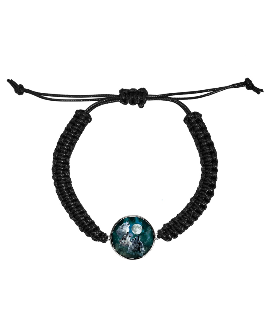 Three Wolves Howling At The Moon All Over T-Shirt Cord Circle Bracelet