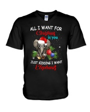 All I want for Christmas I want Elephants shirt V-Neck T-Shirt thumbnail