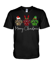Dog Paws Merry Christmas shirt V-Neck T-Shirt tile