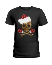 Skull Leopard Santa Claus Christmas shirt Ladies T-Shirt thumbnail