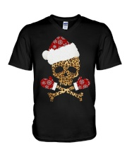 Skull Leopard Santa Claus Christmas shirt V-Neck T-Shirt thumbnail
