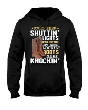 Doors need shutting' lights need cutting Knockin  Hooded Sweatshirt thumbnail