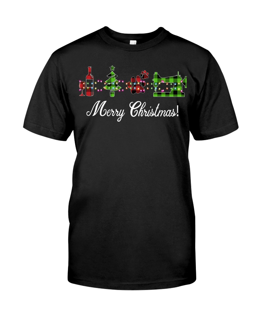 Sewing quilting Wine Merry Christmas shirt Classic T-Shirt