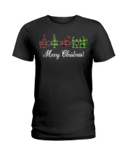 Sewing quilting Wine Merry Christmas shirt Ladies T-Shirt thumbnail