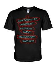 Camp Crystal Lake Haddonfield Bates Motel Elm V-Neck T-Shirt thumbnail