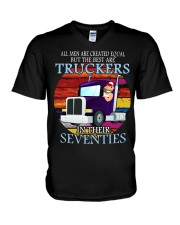 All men are created equal but the best truckers  V-Neck T-Shirt thumbnail