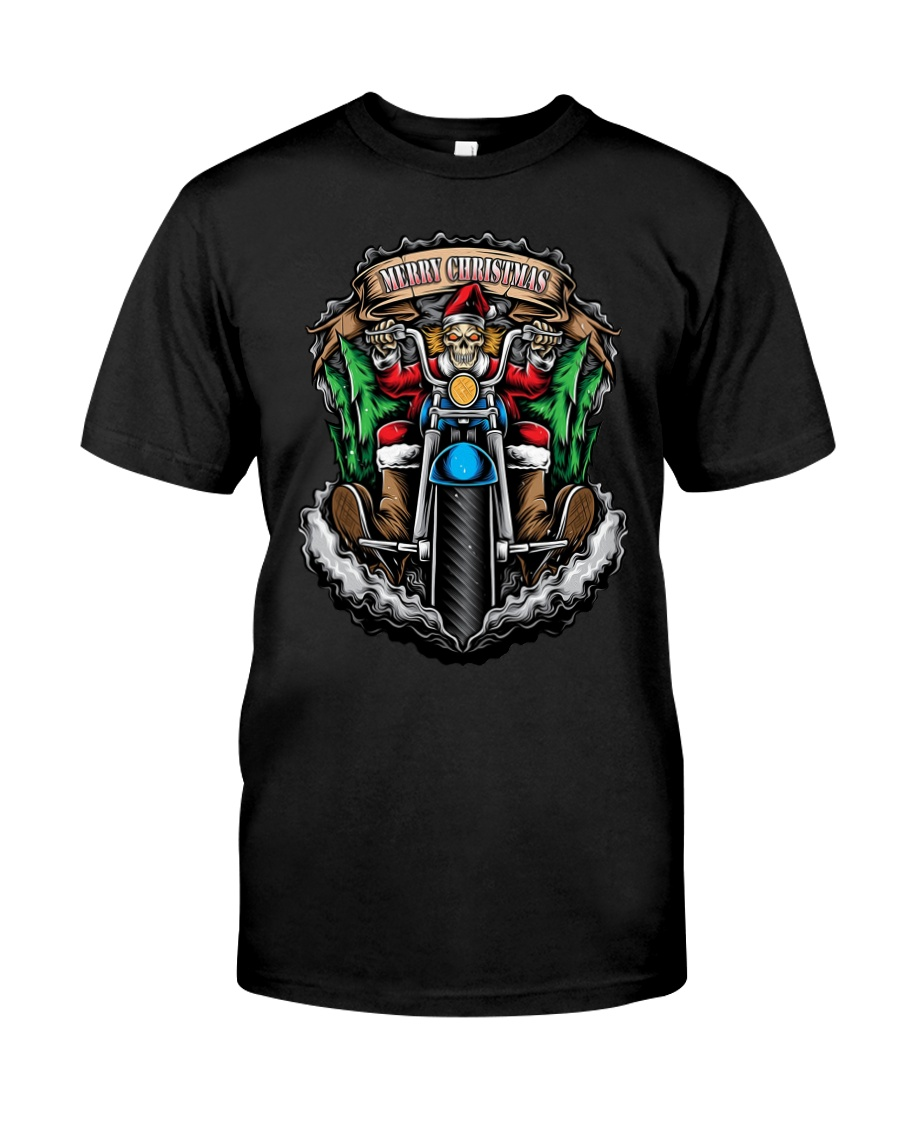 Skeleton Santa Claus biker Merry Christmas shirt Classic T-Shirt