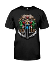 Skeleton Santa Claus biker Merry Christmas shirt Classic T-Shirt front