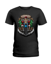 Skeleton Santa Claus biker Merry Christmas shirt Ladies T-Shirt thumbnail