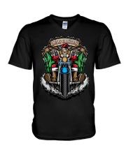 Skeleton Santa Claus biker Merry Christmas shirt V-Neck T-Shirt thumbnail