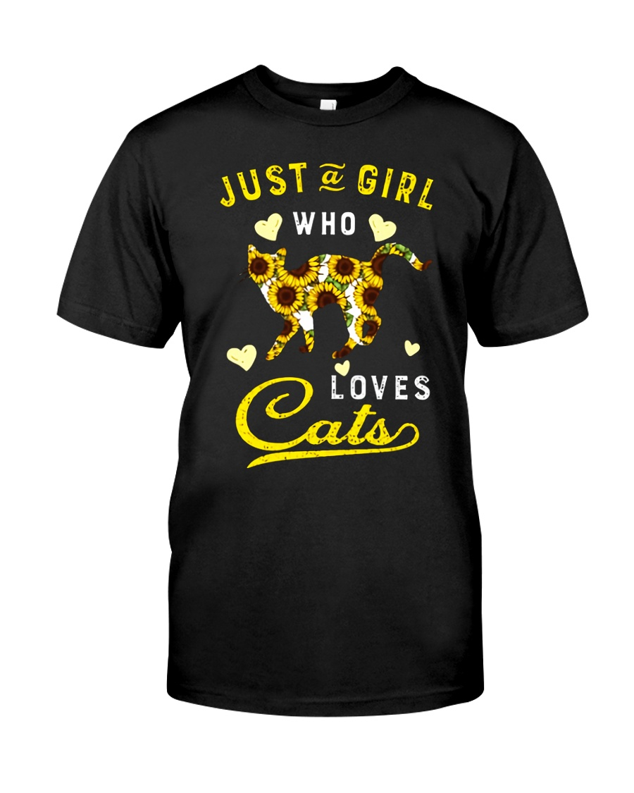 Just A Girl Who Loves Cats Mixed Sunflower Classic T-Shirt