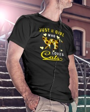 Just A Girl Who Loves Cats Mixed Sunflower Classic T-Shirt lifestyle-mens-crewneck-front-5