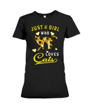 Just A Girl Who Loves Cats Mixed Sunflower Premium Fit Ladies Tee thumbnail