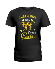 Just A Girl Who Loves Cats Mixed Sunflower Ladies T-Shirt thumbnail