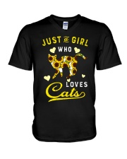 Just A Girl Who Loves Cats Mixed Sunflower V-Neck T-Shirt thumbnail