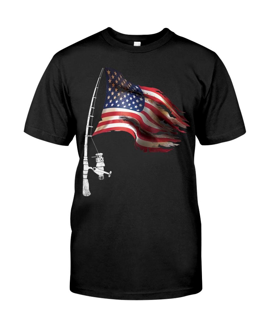 Fishing American Flag Fisherman  Classic T-Shirt