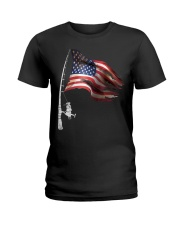 Fishing American Flag Fisherman  Ladies T-Shirt thumbnail