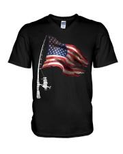 Fishing American Flag Fisherman  V-Neck T-Shirt thumbnail