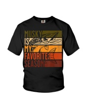 Distressed Vintage Musky Fishing Is My Favorite Youth T-Shirt thumbnail