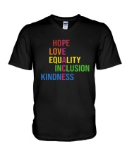 Love Peace Equality Inclusion Kindness Hope V-Neck T-Shirt thumbnail