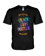 No Justice BLM No Peace V-Neck T-Shirt thumbnail