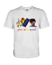 Peace Love Proud V-Neck T-Shirt thumbnail