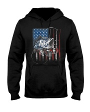 Fishing American Flag Vintage Usa Bass Fisherman Hooded Sweatshirt thumbnail