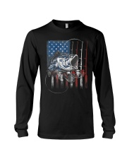Fishing American Flag Vintage Usa Bass Fisherman Long Sleeve Tee thumbnail